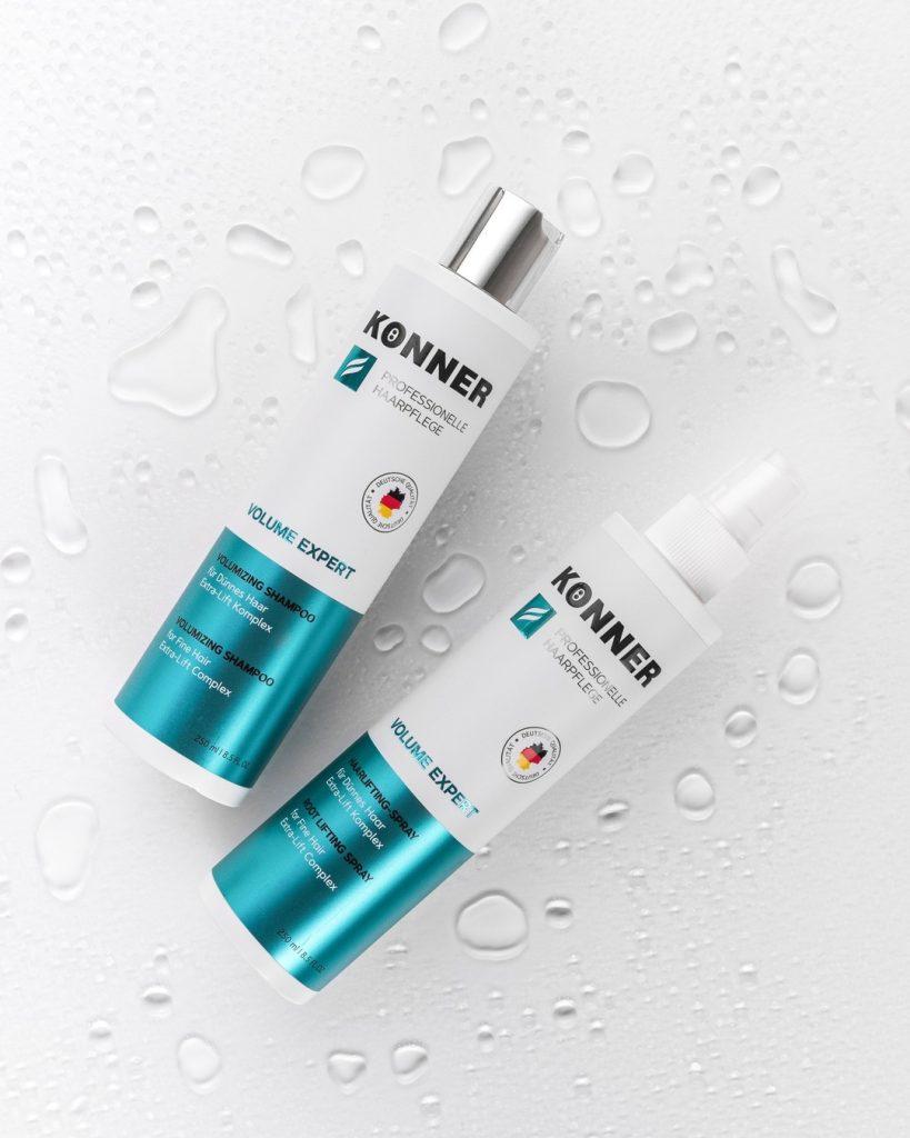 Новинки марки KÖNNER: шампунь для тонких волос VOLUME EXPERT и спрей для прикорневого объема VOLUME EXPERT.